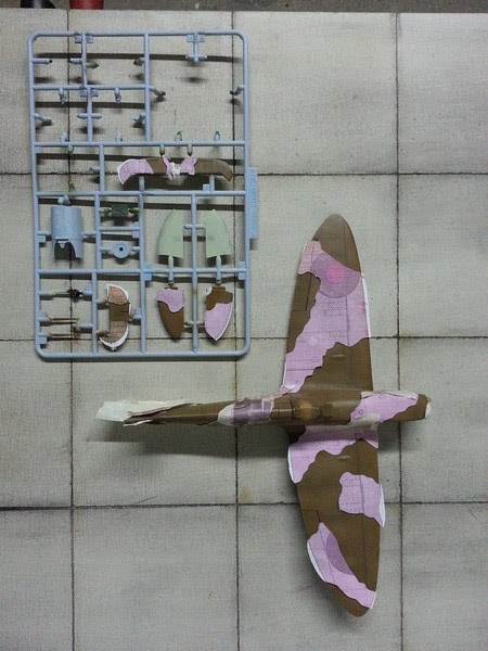 Réalisation du camouflage du Spitfire MkI D'Airfix au 1/48.