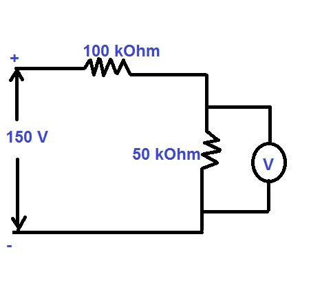 it is desired to measure the voltage cross the 50 kohm resistor using two voltmeter a and b voltmeter a has a sensitivity of ohmv while for voltmeter