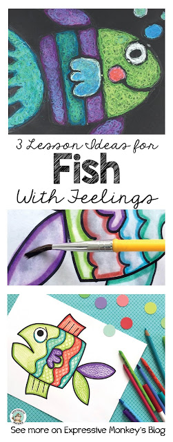 See art project ideas using markers & water, texture rubbing, and oil pastel techniques to create these beautiful fish with feelings.