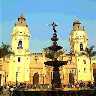 Basílica Catedral de Lima, Vista da Plaza Mayor