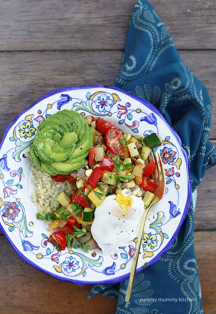 summer vegetable hash with poached eggs
