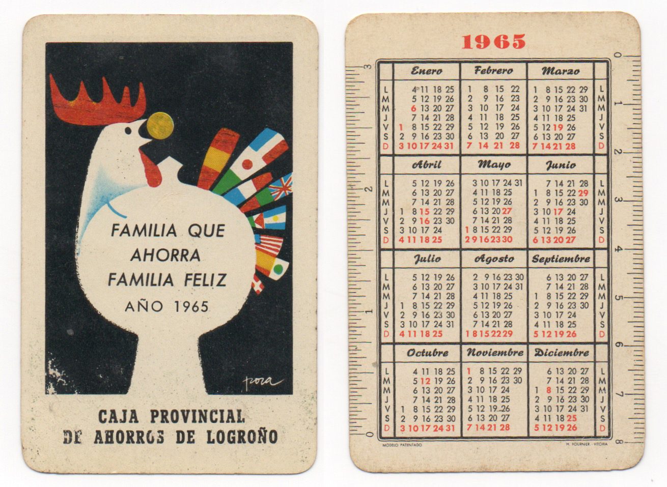 Calendario Del Ano 1965.Calendarios De Bolsillo