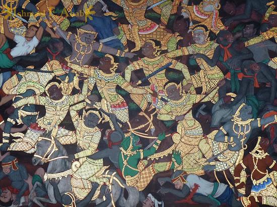 Ramakien in Bangkok Grand Palace: bloody battle