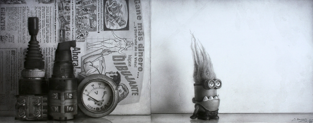 09-Minion-Strange-Javier-Banegas-Black-and-White-Realistic-Mixed-Media-Drawings-www-designstack-co