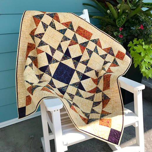 Beothuk Star Quilt Free Pattern designed and made by Sandra Walker of MmmQuilts