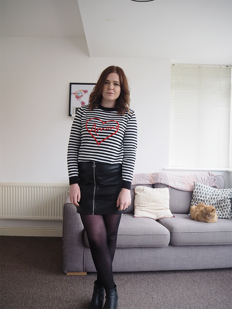 A line leather skirt stripey jumper chelsea boots outfit post