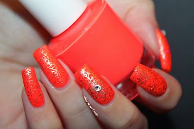 Bollywood inspired orange neon nail art