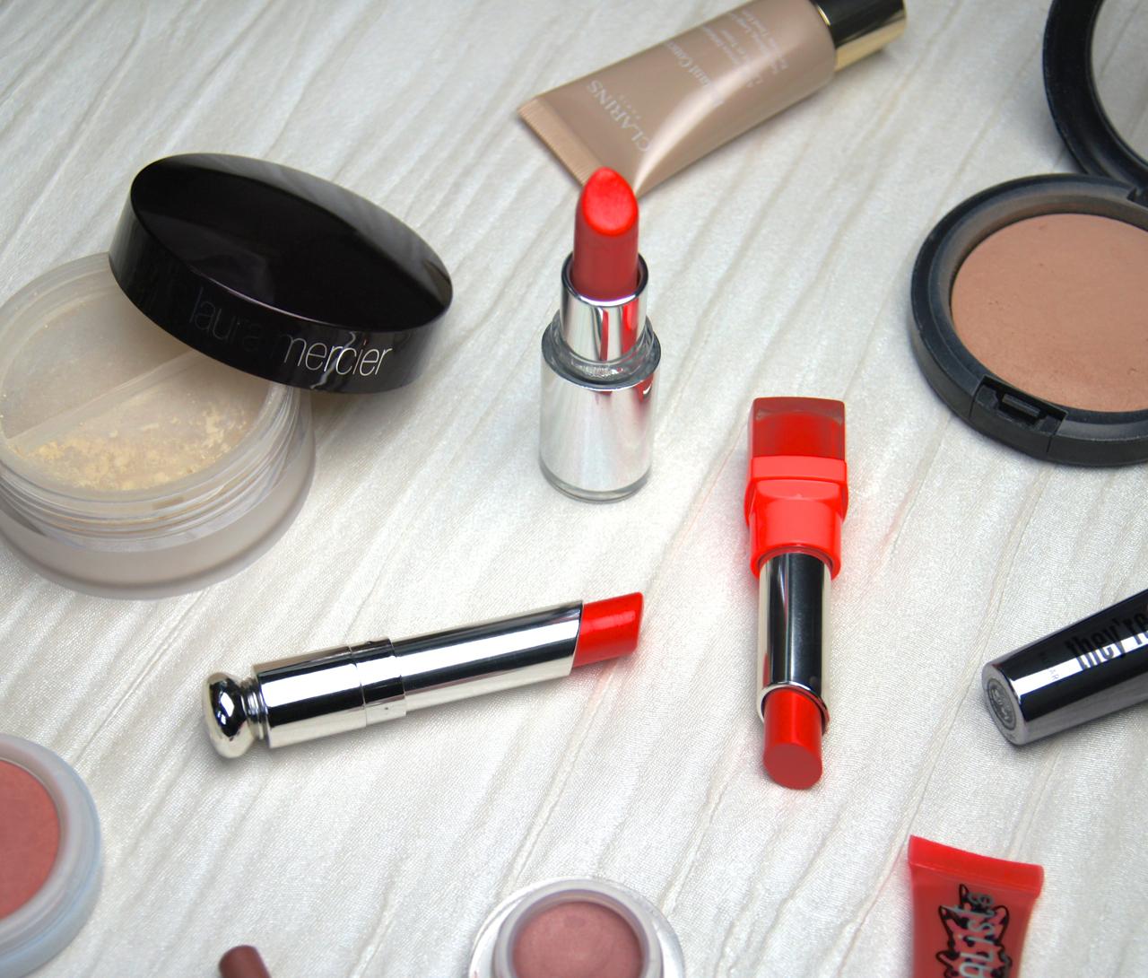 glossy coral lipsticks dior clarins bourjois swatches save spend splurge  affordable luxury mid-range