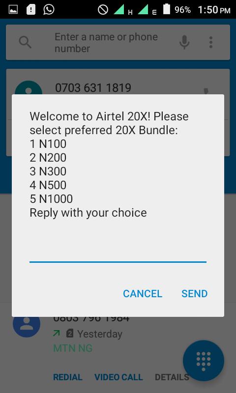 Airtel 20X Recharge Bonus - Turn N100 to N2000, N200 to N4000 and More