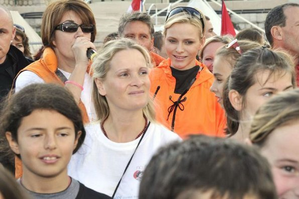 Princess Charlene attended the closing event of the 13th 'No Finish Line' charity 'run' in aid of charities for children, at Nouvelle Digue, Port Hercules in Monaco