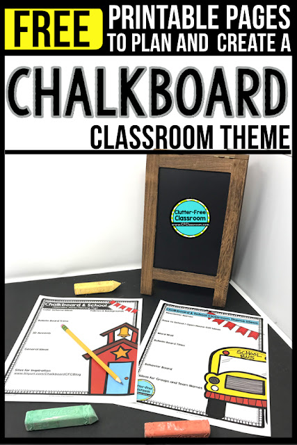 CHALKBOARD Theme Classroom: If you're an elementary teacher who is thinking about a CHALKBOARD theme then this classroom decor blog post is for you. It'll make decorating for back to school fun and easy. It's full of photos, tips, ideas, and free printables to plan and organize how you will set up your classroom and decorate your bulletin boards for the first day of school and beyond.