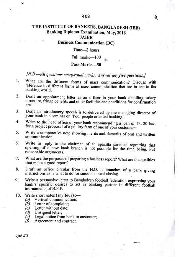 business communication question banking diploma education banking diploma examination 2010 2016 jaibb business communication question bc 2010 2016