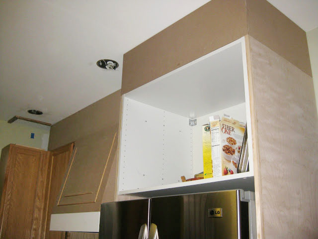 DIY how to cover the space above oak kitchen cabinets