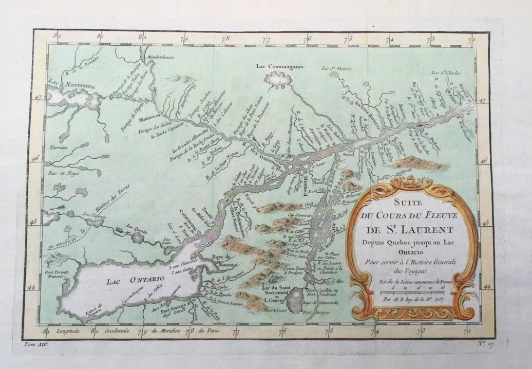 at the time this map of the upper st lawrence river and lake ontario was made there was considerable settlement in the colony of new france between the
