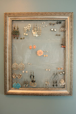 Jewelry frame and earring holder