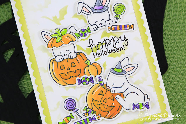 Halloween Card by Juliana Michaels featuring Newton's Nook Designs Hoppy Halloween Stamp Set and Flying Bats Stencil