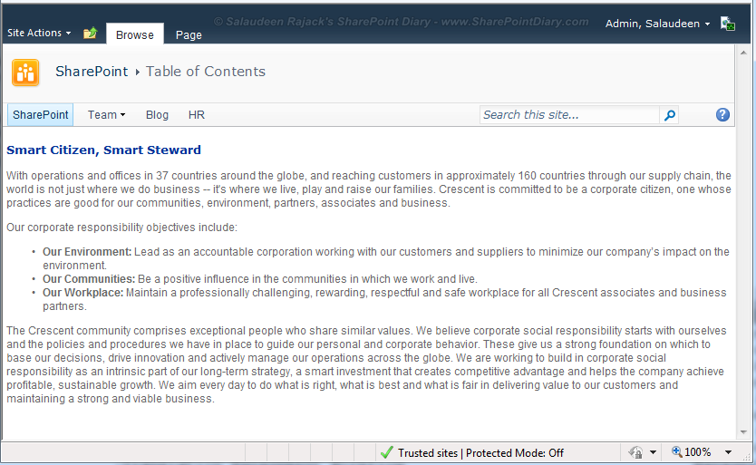 show quick launch sharepoint web part page