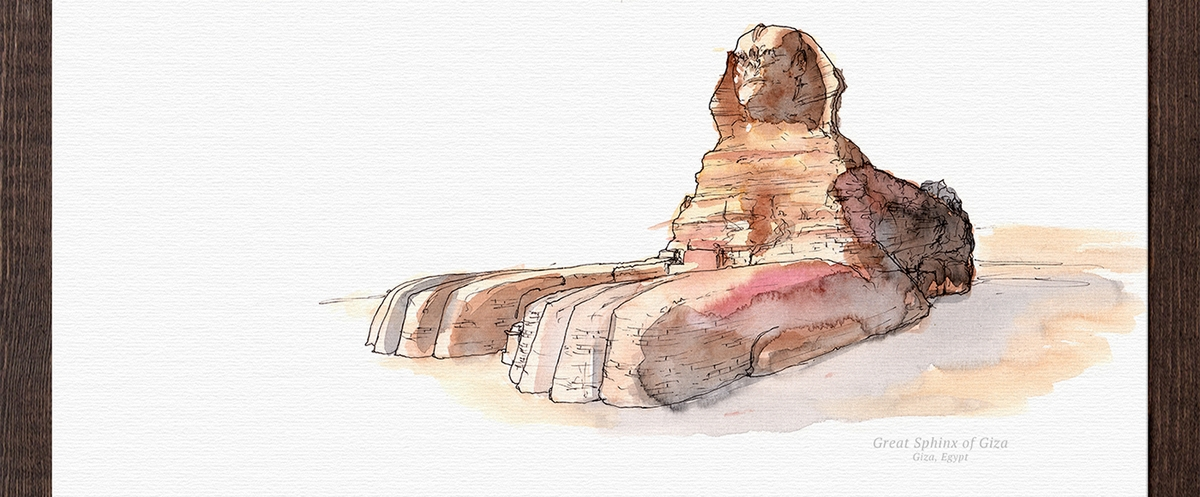 04-Great-Sphinx-of-Giza-Egypt-Mucahit-Gayiran-Architectural-Landmarks-Mixed-Media-Art-Part-2-www-designstack-co