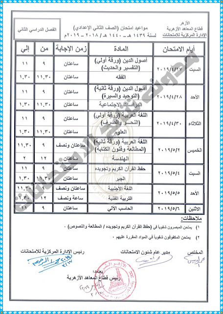 جدول إمتحانات الصف الثانى الاعدادى الازهرى 2019 أخر العام الترم الثانى