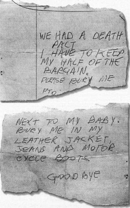 Sid Vicious original suicide note