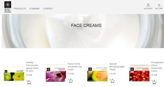 Web de Bodyfarm, sección cremas faciales