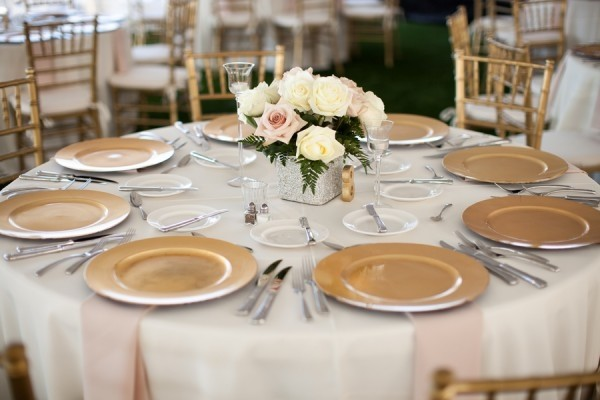 K'Mich Weddings - wedding planning - reception setup - gold charger on white linen