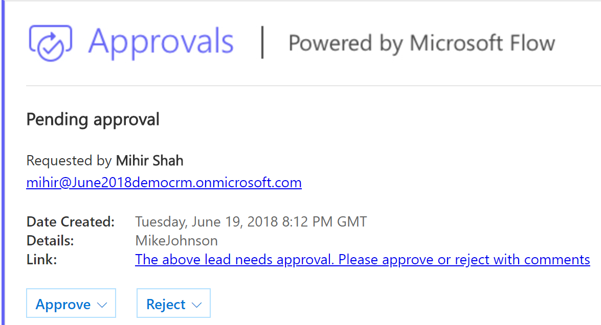 Approvals for Dynamics 365 using Microsoft Flow - Microsoft