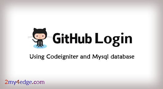 Github login / Signup using codeigniter php framework with mysql