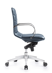 Marie Blue Leather Office Chair - Side View