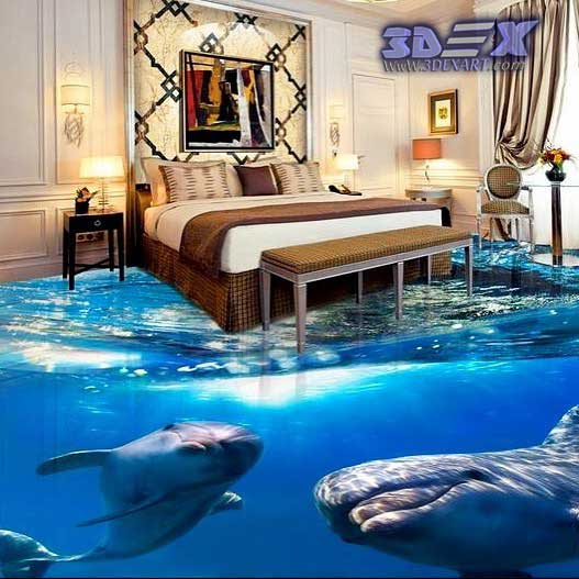 3d Dolphin Flooring And Photo Printing On Floors