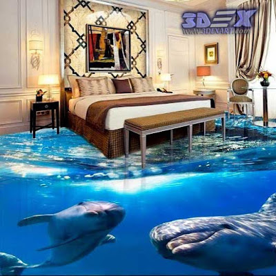 3d dolphin flooring, 3d dolphin tile, 3d epoxy floor art for bedroom