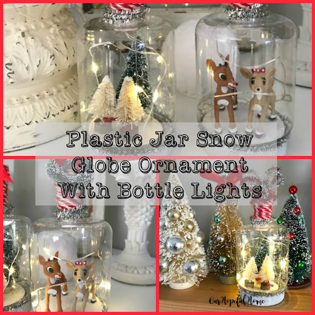 plastic jar ornament lid DIY Christmas snow globe