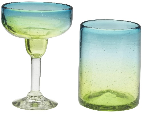 Blue and Green Recycled Glassware