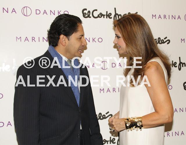 Con Marina Danko, quien presentó  su exclusiva colección para El Corte Inglés. Marina, de origen colombiano, es uno de los personajes más admirados de la vida social española.