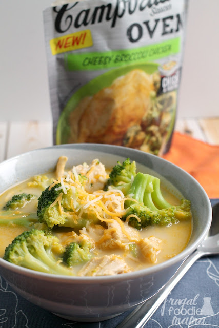 This delicious and satisfying Easy Cheesy Broccoli Chicken Soup takes just 5 ingredients and 25 minutes to make. A perfect busy weeknight dinner idea! @Campbells #ad