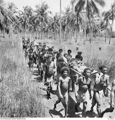 Climbing My Family Tree: ative bearers bringing injured to forward American Aid Station, New Guinea. WW2. Photo by George Silk, Australian War Memorial Archives No. 013993. Public Domain