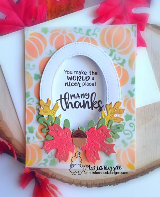 Thank you cards by Maria Russell | Thankful Thoughts Stamp Set, Pumpkin Patch Stencil and Autumn Leaves Die Set by Newton's Nook Designs #newtonsnook #handmade