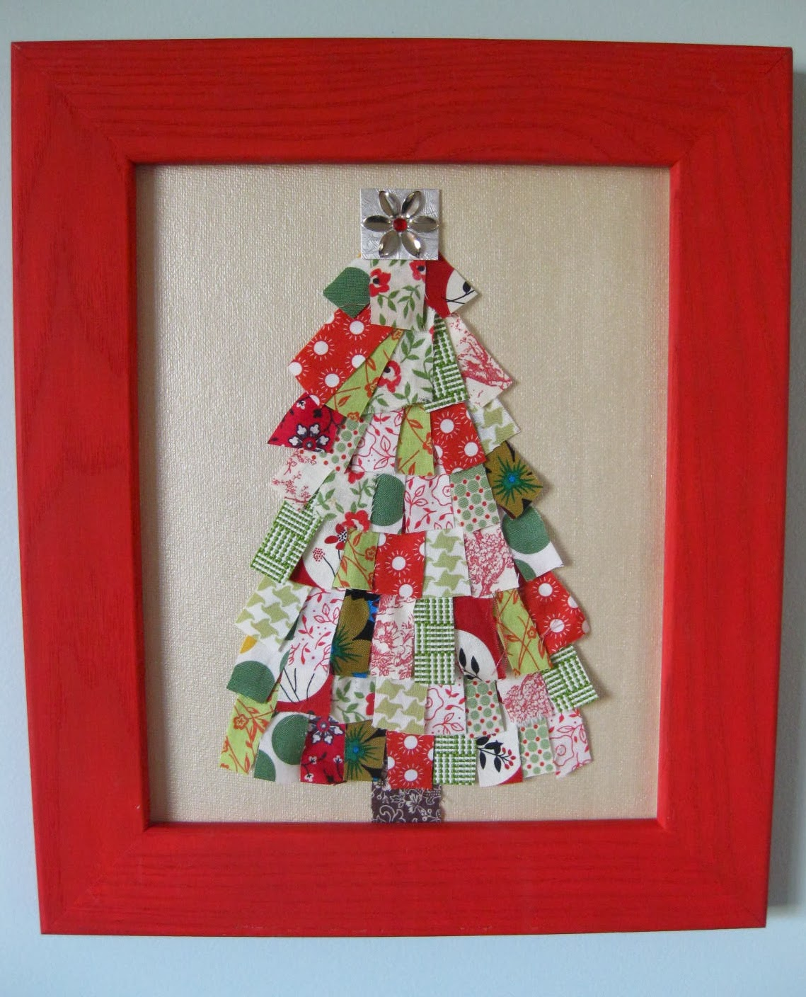 Rag rescue vintage fabric christmas tree cards for Christmas ideas for christmas cards