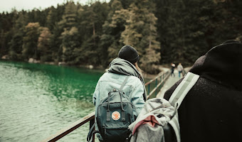 Back view backpacker beanie