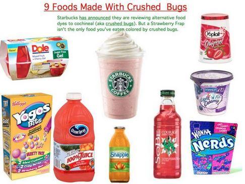 makanan dengan pewarna dari serangga