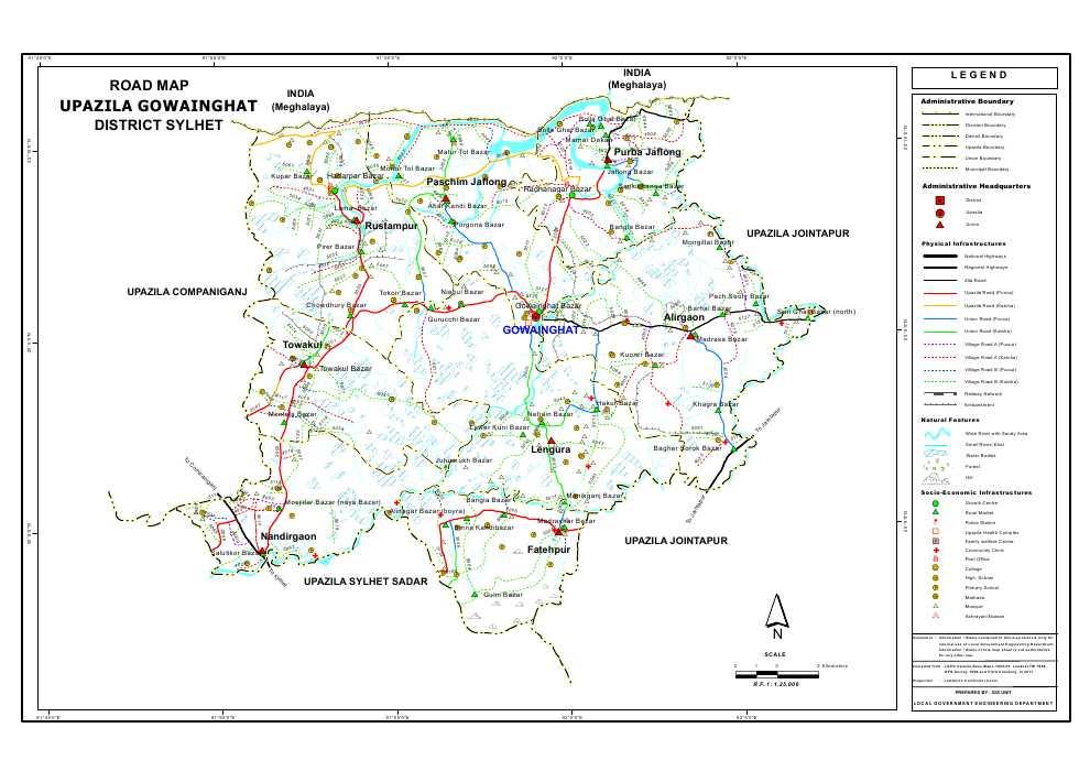 Gowainghat Upazila Road Map Sylhet District Bangladesh