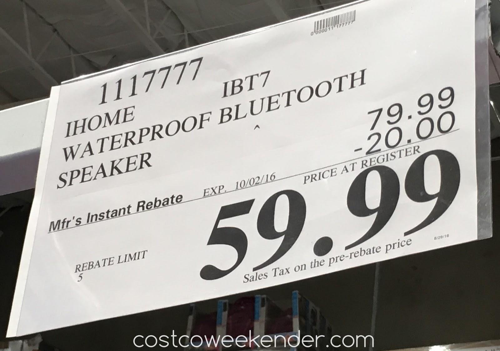 iHome iBT7 Waterproof Bluetooth Speaker | Costco Weekender