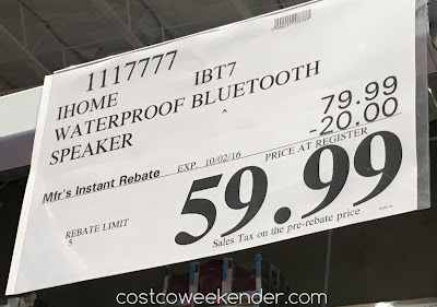 Deal for the iHome iBT7 Portable Wireless Stereo Speaker at Costco