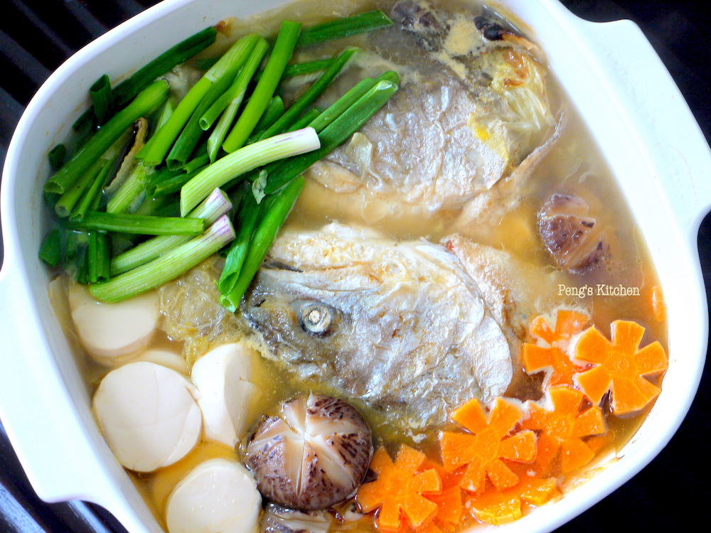Peng 39 s kitchen salmon fish head chinese cabbage soup for Fish head soup recipe