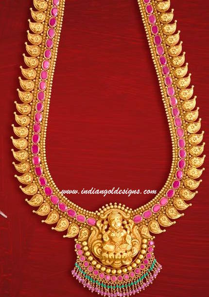 Gold and Diamond jewellery designs lakshmi devi long haar