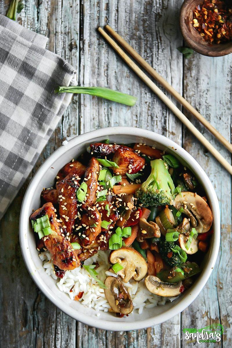Honey-Gochujang Chicken and Mixed Vegetables Stir-Fry recipe