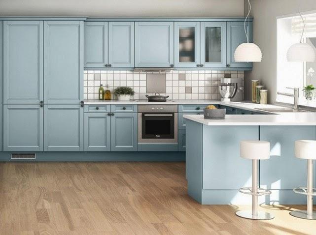 Cocina de color celeste