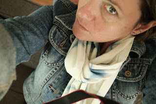 megan h carroll selfie jean jacket infinity scarf