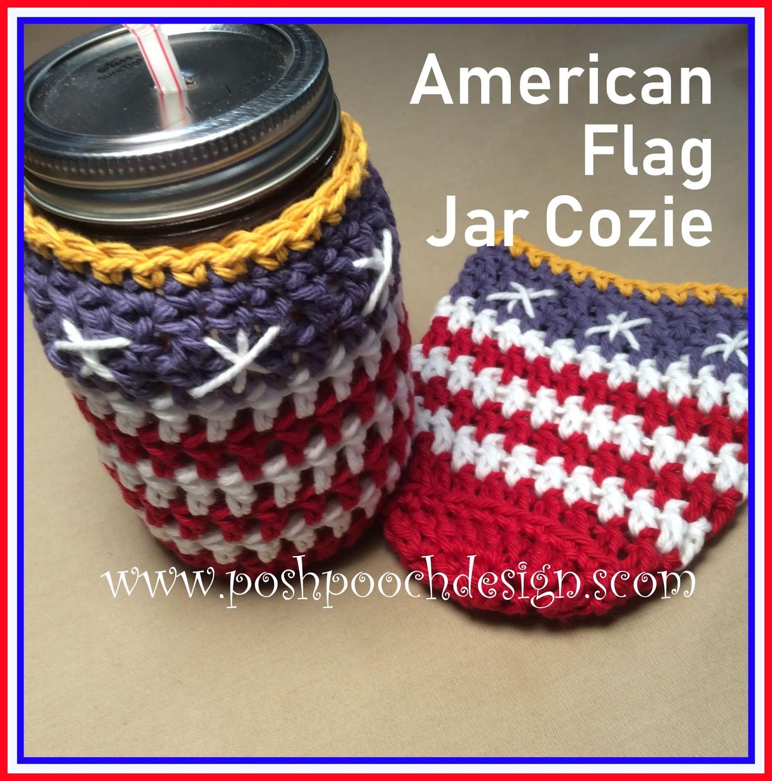Posh Pooch Designs Dog Clothes American Flag Jar Cozie Crochet