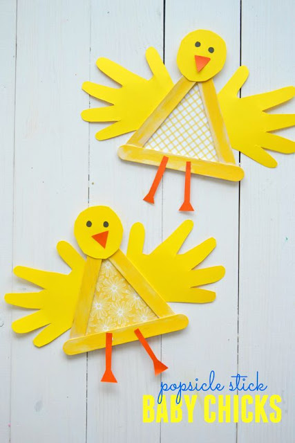 easter, crafts, kids, popsicle stick crafts, chicks